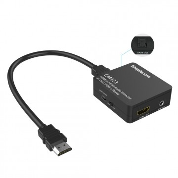 Simplecom CM423 HDMI Audio Extractor 4K HDMI to HDMI and Optical SPDIF + 3.5mm Stereo