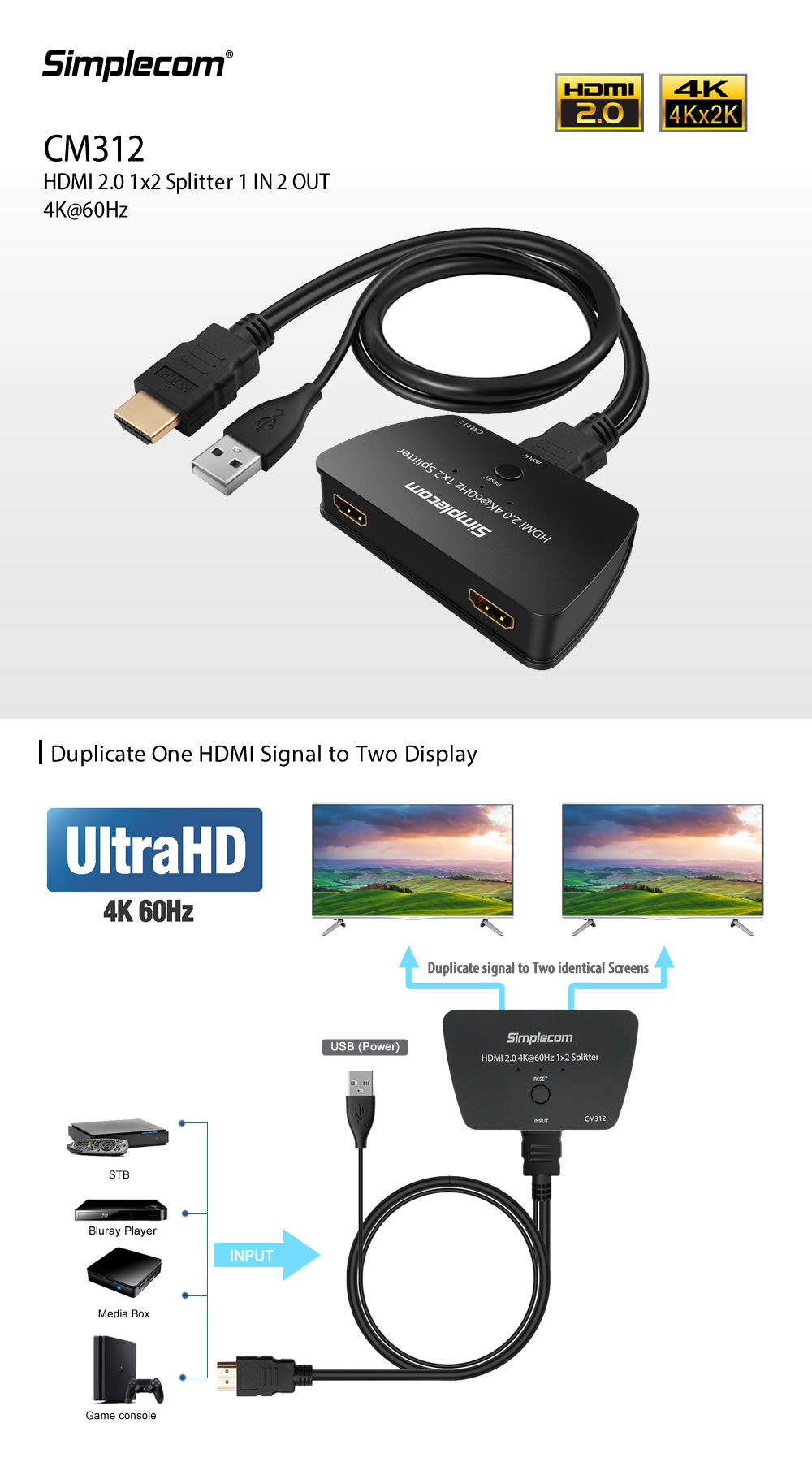 Simplecom CM312 HDMI 2 0 1x2 Splitter 1 In 2 Out 4K@60Hz UHD 3D 2
