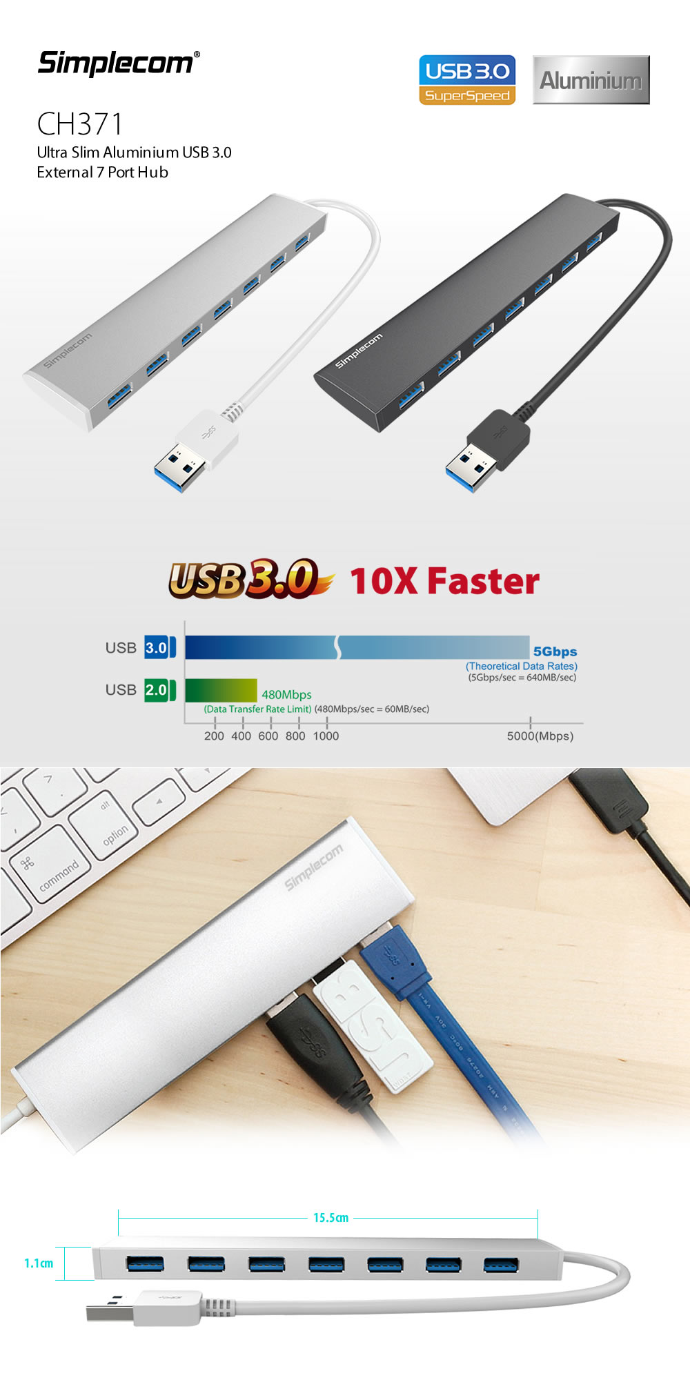 Simplecom Ch371 Ultra Slim Aluminium 7 Port Usb 30 Hub For Pc Mac 1 Transfer Rate With You Can Instantly Expand Connectivity Super Speed Ports
