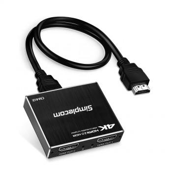 Simplecom CM412 HDMI 2.0 1x2 Splitter 1 IN 2 Out 4K@60Hz HDR10 2 Port HDMI Duplicator