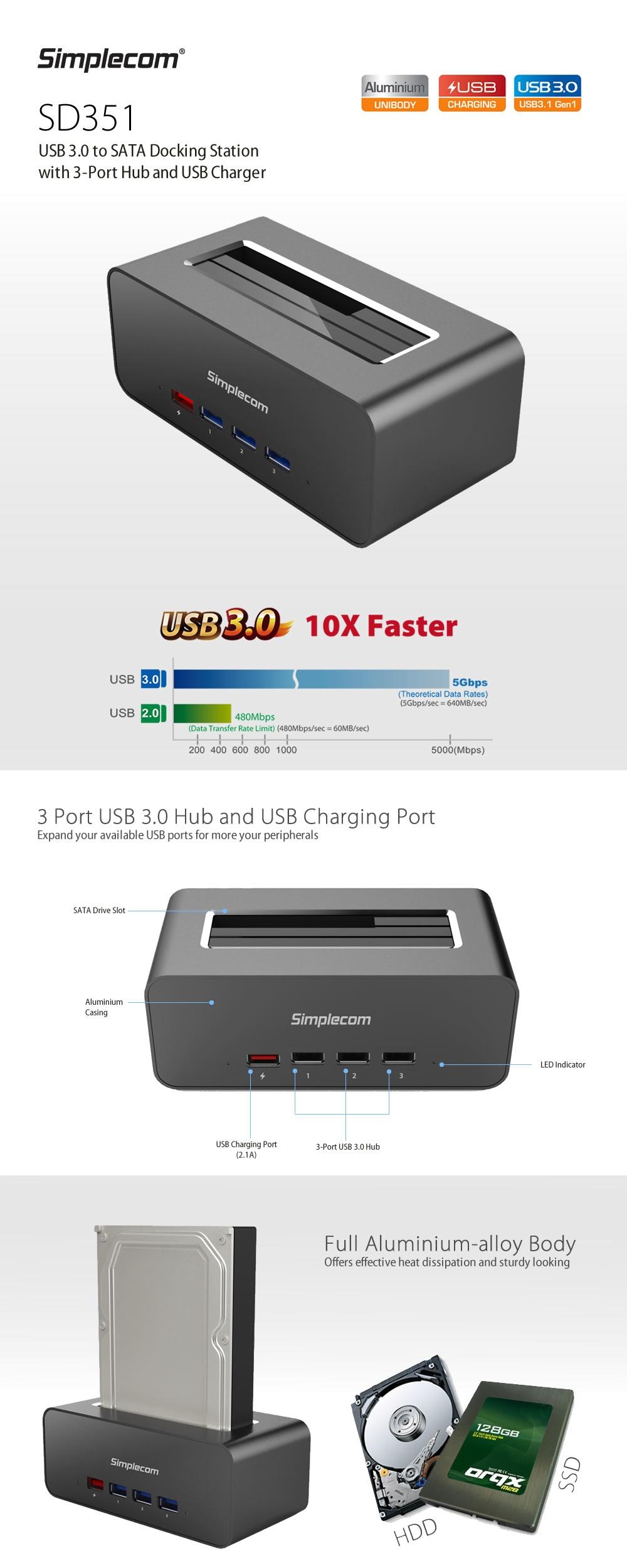 Simplecom SD351 USB 3.0 to SATA HDD Aluminium Docking Station - Desktop Overview 1