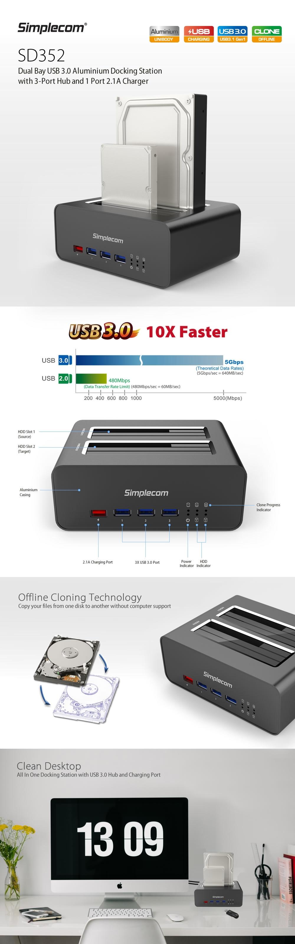 Simplecom SD352 USB 3.0 to Dual SATA HDD Aluminium Docking Station - Desktop Overview 1