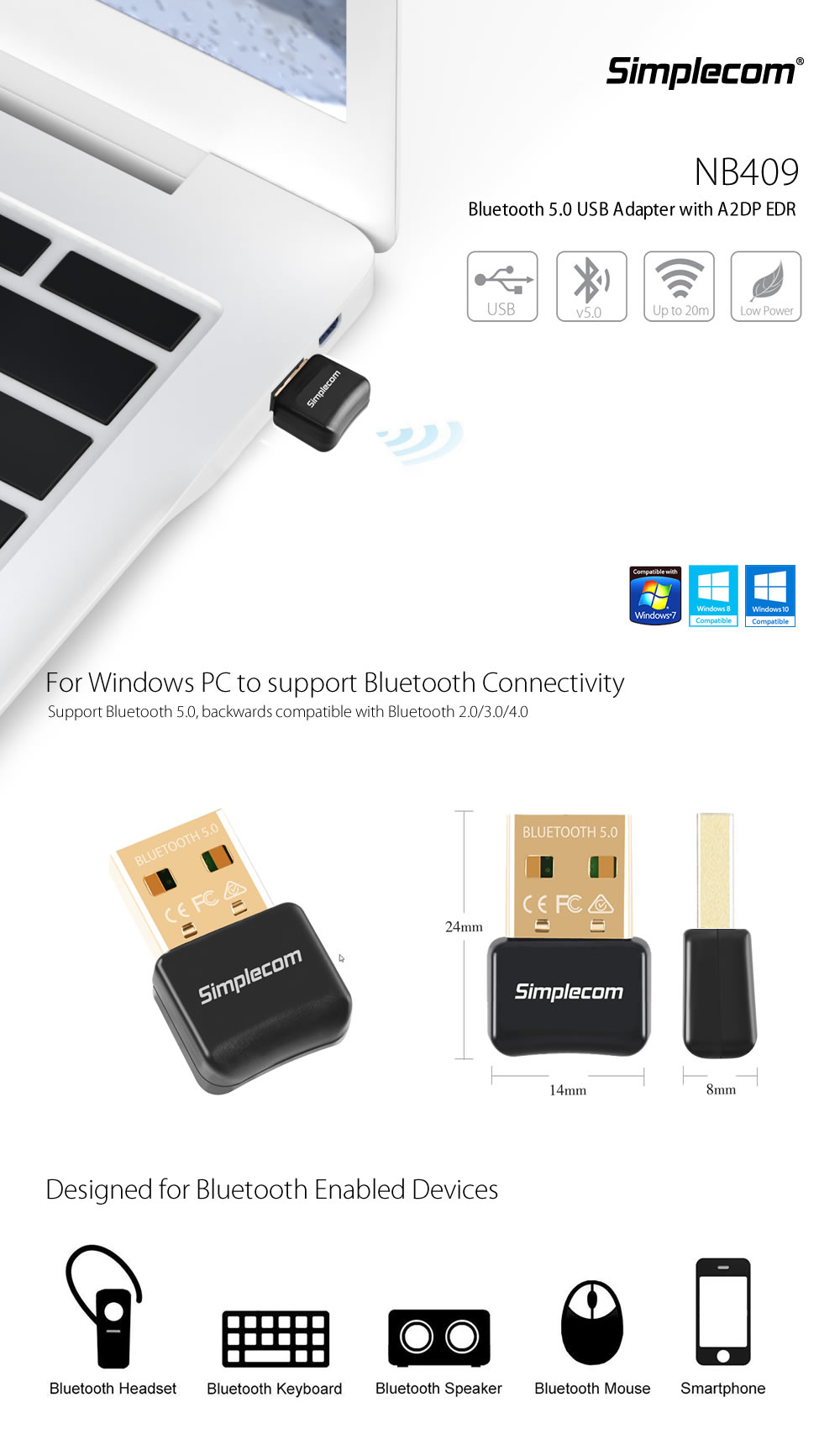 Simplecom Nb409 Usb Bluetooth 5 0 Adapter Wireless Dongle